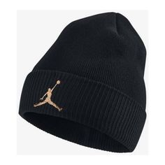 Jordan OVO Cuffed Knit Hat Black Metallic Gold Beanie ($15) ❤ liked on Polyvore featuring accessories and hats