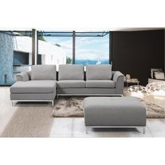 A trendy update on a classic design will be the highlight of any living space. This stylish sectional sofa offers plenty of sitting space, a chaise lounge and an oversize ottoman. This sleek modern de Leather Sectional Sofas, Chaise Sofa, Fabric Sectional, Small Sectional, Country Furniture, New Furniture, Living Room Sets, Living Spaces, Italian Leather Sofa