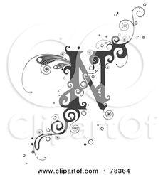 Royalty-Free (RF) Clipart Illustration of a Vine Alphabet Letter N by BNP Design Studio Cool Lettering, Graffiti Lettering, Lettering Design, N Letter Design, Alphabet Design, Alphabet Latin, English Alphabet, Fancy Letters, Magic Symbols