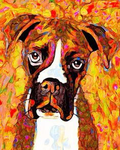 Art collectibles painting acrylic boxer dog by AnimalArtIncognito