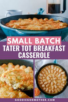 This Tater Tot Breakfast Casserole Has Super Creamy Eggs, Bacon And 2 Kinds Of Cheese! It's Easy To Make Ahead Of Time And Is Perfectly Freezer-friendly!. Tater Tot Breakfast Casserole, Savory Breakfast, Breakfast Dishes, Breakfast Recipes, Breakfast Items, Sweet Recipes, Yummy Recipes, Amazing Recipes, Dessert Cake Recipes