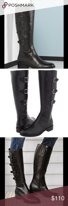 "ECCO BOOTS! Quality leather, black riding boots for the woman on the go.  Small calves or larger ones, the boots can adjust using the cute little buckles.  A short 1  1/4"" heel for maximum comfort. Size 39. Almost like new condition.  TO0355014 Ecco Shoes"
