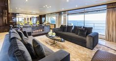 Mondomarine, one of yachting's most forward-thinking yacht makers, built some noteworthy innovations into the new Mondomarine Serenity. The first in the company's SF line, Serenity's six-s… Yacht Interior, Interior Design, Installing A Fireplace, Monaco Yacht Show, Modern Fireplace, Yacht Design, Aircraft Design, Luxury Yachts, Serenity