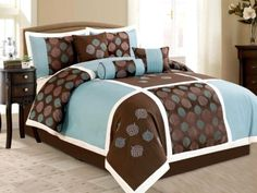 7-Piece Queen Size Comforter Set Embroidered Leaf Brown Bed-In-A-Bag