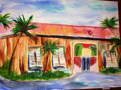 Fat Harolds Beach Club NMB South Carolina Watercolor