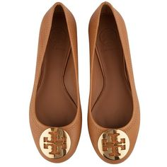 Tory Burch Reva Ballerina (€176) ❤ liked on Polyvore featuring shoes, flats, ballerina shoes, flat pumps, tory burch footwear, skimmer flats and flat shoes