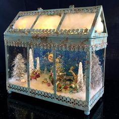 Items similar to Magical Enchanted Forest Lantern (Blue) on Etsy - Dekoration Christmas Scenes, Christmas Villages, Christmas Projects, All Things Christmas, Christmas Home, Vintage Christmas, Christmas Holidays, Christmas Ornaments, Pink Christmas