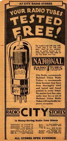 National Union Radio Tube's Radio Tubes – Your Radio Tubes Tested Free (1930)