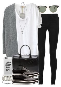 """Untitled #3270"" by hellomissapple ❤ liked on Polyvore featuring J Brand, American Vintage, Ray-Ban, Casetify, Givenchy, Yves Saint Laurent, Prada, H&M and Michael Kors"
