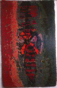 Annansilmä / Begonia Cheimantha Satu Peura Modernit ryijyt Rya Rug, Wool Rug, Satu, Fiber, Weaving, Rugs, Painting, Farmhouse Rugs, Low Fiber Foods