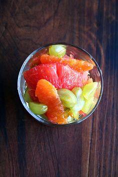 grapefruit, orange, and green grape compote