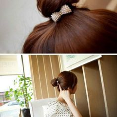 Women Fashion Pearl Bow Bow knot Hair Band Clip Ponytail Hair Accessories WCA048 #Unbranded #Bowknot