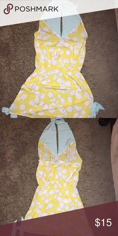 Mud pie Swim cover Lovely halter neck swim cover up in yellow/ teal. Sides have teal tie ups. Size Large.  Retails for $39.99 Mud pie Swim Coverups