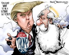 Editorial cartoon by Paul Combs found on theweek.com on Saturday, January 23, 2016 / Heaven needs to build a wall and have The Donald pay for it