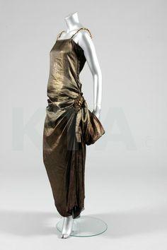 Paul Poiret orientalist dress, circa 1922, of bronze coloured metallic-woven silk