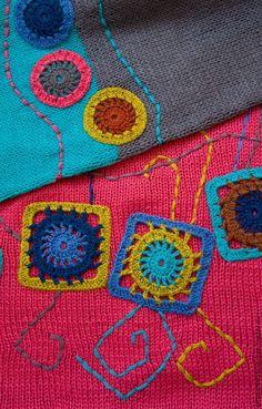 """Шарф """"Рубиновый"""" - комбинированный, яркий шарф, рубиновый цвет, бирюзовый цвет, вязаный шарф"""