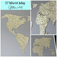 DIY World Map Glitter Art
