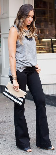 j brand flare jeans exclusively at bloomingdales | tank: current/elliot | booties: steve madden | clutch: stella & dot