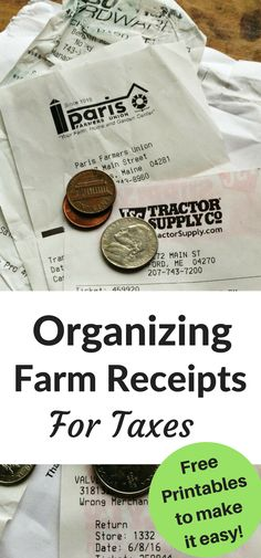 Organizing farm receipts for taxes can be easy, when you have a system in place. These printables are what we use to easily organize our farm receipts for tax time!