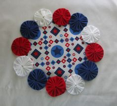 Red White and Blue, Americana, Patriotic YoYo Candle - Lamp - Photo Frame Mat - Handmade Colorful by YoyosAndMoreByJill on Etsy