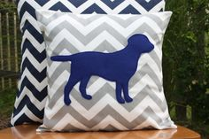 CUTE nursery theme!!! - Modern Chevron Grey Puppy Pillow