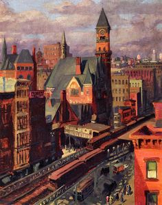 """Jefferson Market,"" John French Sloan (American, 1871-1951), Oil on canvas, 32 x 26 1/8 in., 1917, retouched 1922"