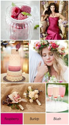 Raspberry, burlap and blush  wedding colors give your wedding a secret romantic style.