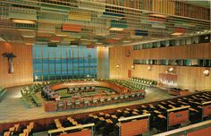 United Nations Trusteeship Council Chamber, designed by Finn Juhl of Denmark, NYC