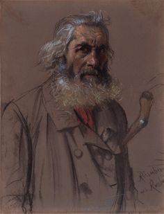 Adolph von MENZEL Breslau 1815 - 1905 Berlin An old Man from Russia, 1853 Black and coulored chalk, on brown paper, cut on the right side, on an old mount, signed, inscribed and dated lower right: Menzel 53/ Riesenberg aus Rußla (nd) 294 × 227 mm Provenance: Private collection Berlin / Northrhine-Westphalia (1911-2005)