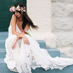 A floral crown and a @ bride for the perfect destination wedding look. Strictly Weddings, Bohemian Bride, Floral Crown, Wedding Looks, Beautiful Gowns, Getting Married, Boho Chic, Destination Wedding, Bridal Shower