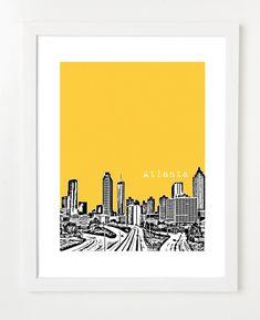 Atlanta Skyline Poster City Art Print Atlanta by BugsyAndSprite