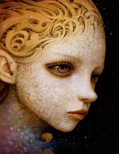 """Naoto Hattori's """"Genesis.""""Brand new paintings by artist Naoto Hattori for his solo show, """"Genesis,"""" opening Saturday, July 2015 at Copro Gallery in Santa Monica, California. These paintings are. Romare Bearden, Girl Face Drawing, Henri Rousseau, Galleries In London, Thomas Kinkade, Fabian Perez, Pop Surrealism, Rodin, Visionary Art"""