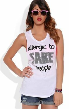 Deb Shops Twist Back Tunic Tank Top with Allergic to Fake People Screen $8.00