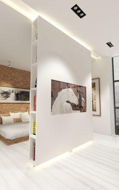 вращающаяся перегородка с подсветкой Home Interior Design, Movable Walls, Living Room Decor, Home, Room Divider Walls, Apartment Design, Loft Spaces, Bedroom Design, Living Room Designs