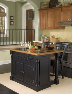 Monarch Black Island With Granite Top And Two Stools