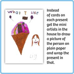 Day #13: Save on wrapping paper and get the mini-artists in the house involved in present-wrapping!