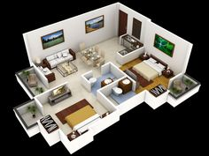 3D Small Home Floor Plans with Open Floor Plan Rustic Style