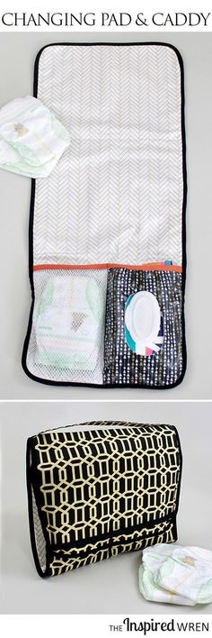 Love that the wipes and dipes are included AND it's laminated for easy cleaning!   TUTORIAL: On-the-Go Changing Pad & Diaper Caddy   The Inspired Wren