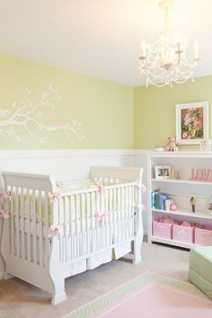 light green nursery for baby girl
