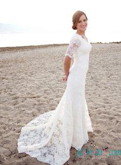 Modest short sleeves slim a line lace wedding dresses
