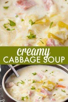 Low Unwanted Fat Cooking For Weightloss Creamy Cabbage Soup - Hearty And Comforting This Delicious And Easy Soup Recipe Is Loaded With Tender Cabbage, Carrots, Celery, Ham And Spices. Cabbage Soup Recipes, Easy Soup Recipes, Dinner Recipes, Cooking Recipes, Healthy Recipes, Healthy Soup, Keto Recipes, Creamy Cabbage Soup Recipe, Cabbage Chicken Soup