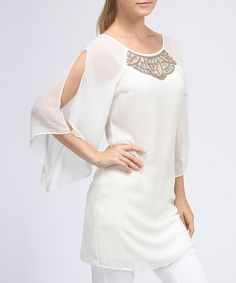 Ivory Bead Sheer-Sleeve Dress - this is so elegant!