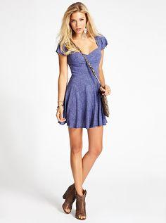 Rayon Bandana Ditsy-Print Dress | GUESS.com