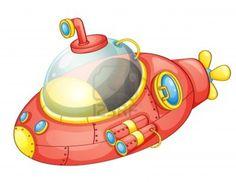 Illustration of a cartoon submarine Stock Photo - 13593766