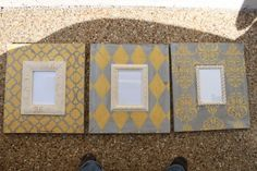 Set of 35x7's Vintage Inspired Grey and Canary by deltagirlframes