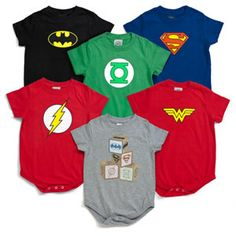 Justice League Onesies. these will happen in my lifetime. even if i have a girl, she can wear tutus with them.