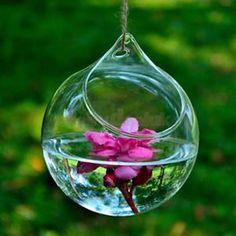 Hanging Crystal Vase Transparent Round Glass Vase Home Office Wedding Garden Decor
