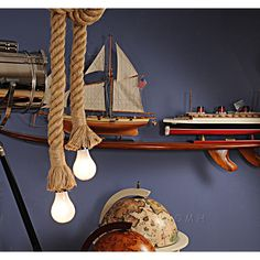 Old Modern Handicrafts Rope Pendant Lamp - Two Bulbs Sloped Ceiling, Ceiling Lights, Fishing Chair, Country Of Origin, Accent Pieces, Pendant Lamp, Handicraft, Decorative Accessories, Metal
