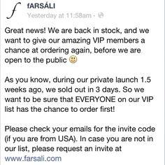 More Farsali in stock! Thank you for choosing Farsali :)