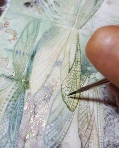 Visit the post for more. Watercolor Techniques, Art Techniques, Art Journal Inspiration, Painting Inspiration, Dragonfly Art, Dragonfly Painting, Gold Leaf Art, Guache, Wow Art